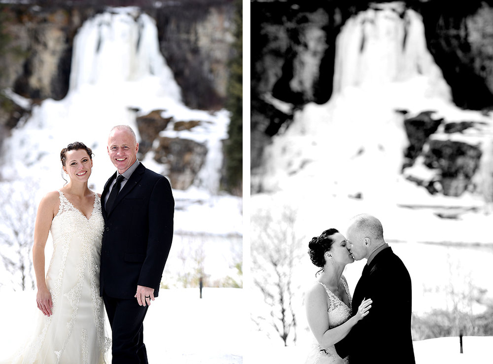 frozen waterfall winter wedding
