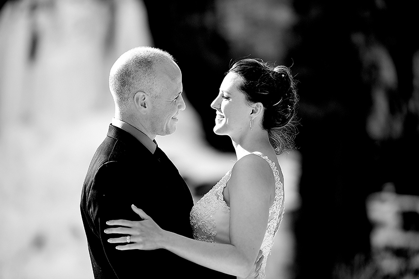 black and white winter wedding portrait