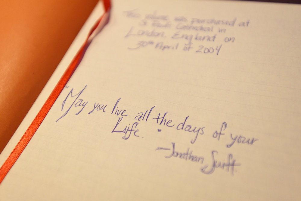 "And finally a quote that sums it all up. Jonathan Swift. ""May you live all the days of your life."" Journaling makes me feel like I am doing that."