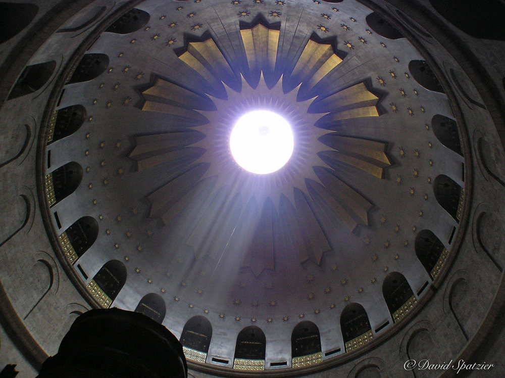 This photograph from the Church of the Holy Sepulchre in Jerusalem, of the ceiling above the tomb of Christ, was taken by my friend David Spatzier and given to me years ago as an encouragement to keep going after my dream to go to Israel.
