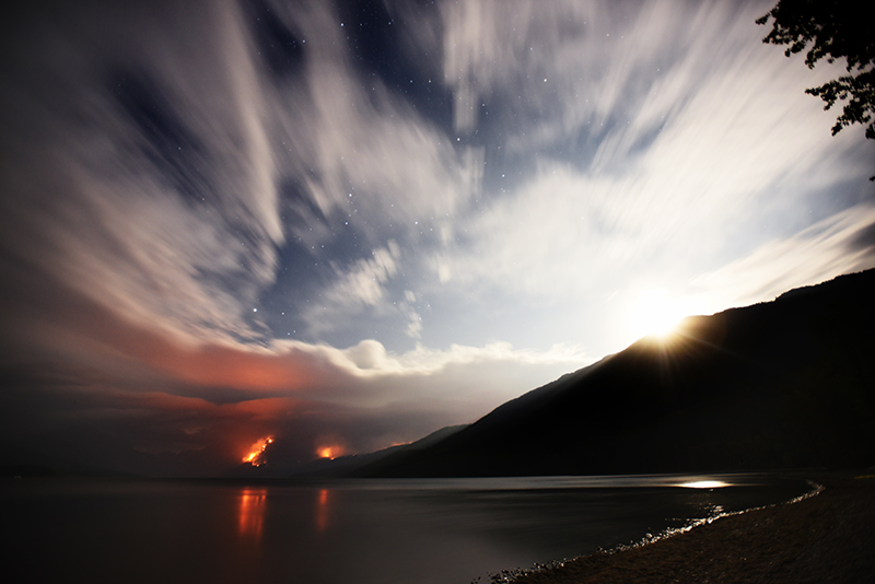 Moonrise over Lake McDonald at just before midnight on Saturday, September 9, from Apgar in Glacier National Park.