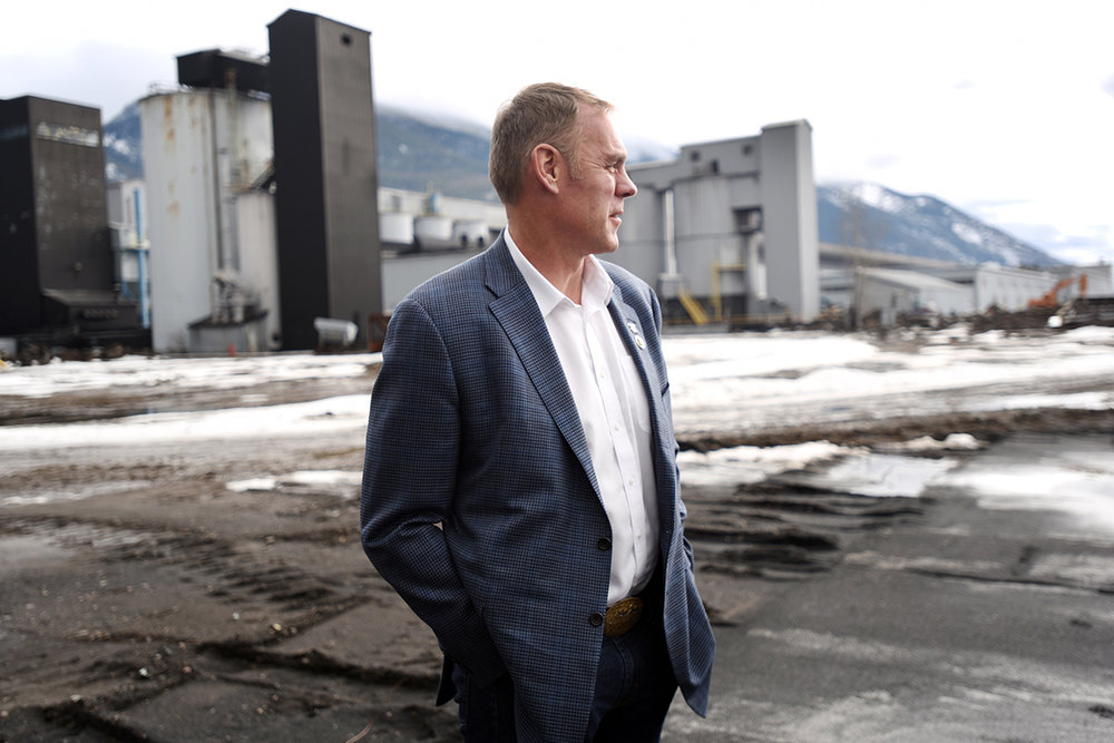 U.S. Rep. Ryan Zinke, R-Mont., tours the Columbia Falls Aluminum Company plant on Tuesday afternoon, Feb. 16. The congressman has provided one of the voices to consistently speak out against having the plant be designated a Superfund site due to the cyanide, fluoride and other metals that have been detected in the soil. Covering 40 acres of floor space the Columbia Falls Aluminum Company is the largest building in Montana. (This is one of the images I submitted to the AP when President Trump announced that Zinke was his choice for Secretary of the Interior. The two images were picked up nationally as well used in Outside magazine.) (2/16/16)