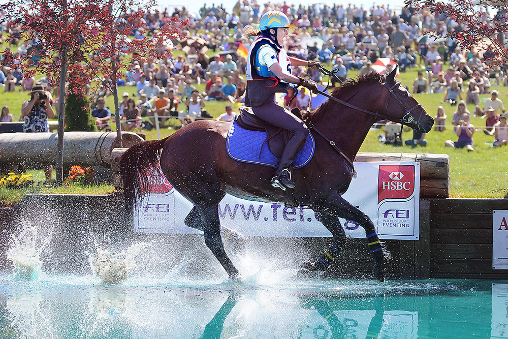 Pam Fisher of Basalt, Colorado, rides Sea Lion in the Cross-Country challenge on Saturday, July 24, at The Event at Rebecca Farm. (7/24/10)