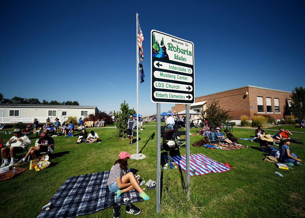 The park in Roberts starts to fill up as people gather for the total eclipse at 11:32 a.m. on Monday, August 21. At the moment of totality a collective shout went up from the crowd that could be heard four blocks away.