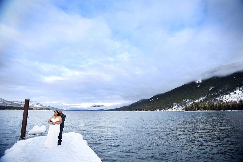 The frozen dock at Lake McDonald.