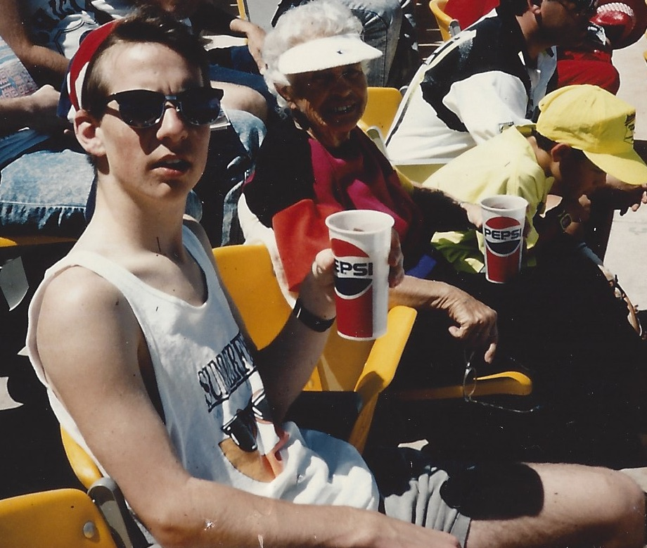 "Dan Kois and his grandmother, Lucille Kois, at spring training 1991 in Scottsdale, Arizona, where they absolutely played ""Cherry Pie"" between the third and fourth innings."