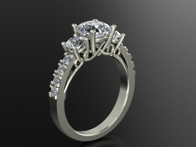 A rendering of your custom jewelry design from our CAD software.  -Jensen Jewelers Toledo, Ohio