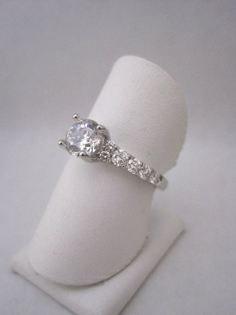 Tapered Straight Row Diamond Engagement Ring