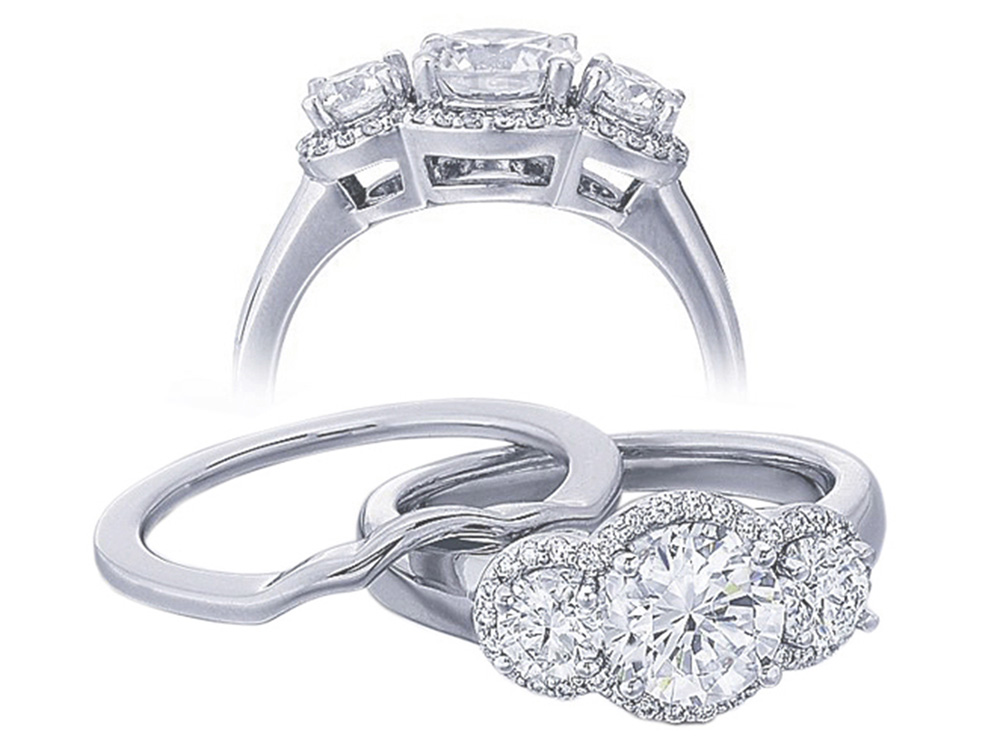 Diamond Three Stone Halo Engagement Ring