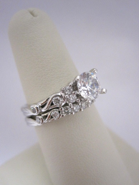 Vintage, Scroll Style Diamond Engagement Ring