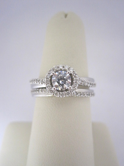 Slanted Diamond Halo Engagement Ring