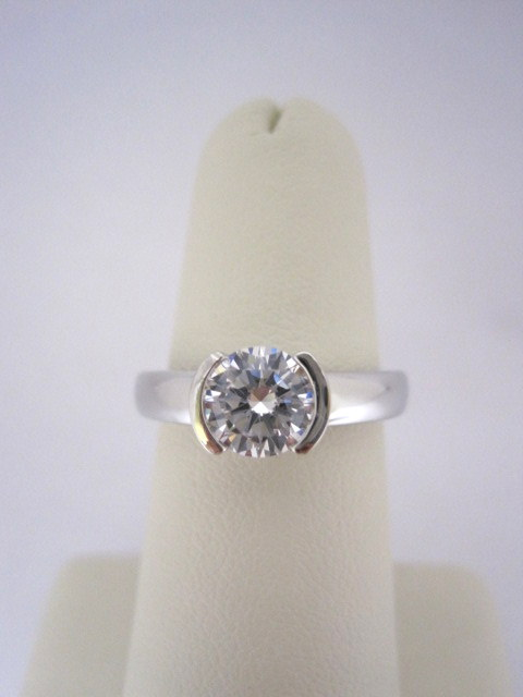 Half Bezel Diamond Solitaire Engagement Ring