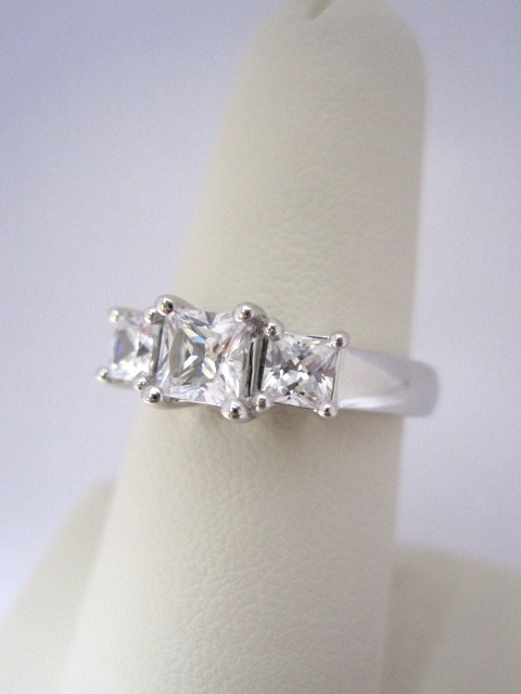 Diamond Princess Cut Three Stone Engagement Ring