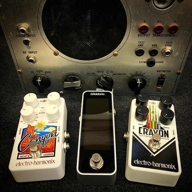 Some of the newest pedals we now carry. @ehx Canyon delay/looper, @daddarioandco chromatic tuner, and an @ehx Crayon full-range overdrive! Come check 'em out! . . . . . #gear #pedalboard #pedals #guitar #guitarist #music #musician #gear #tone #rockandroll #friday
