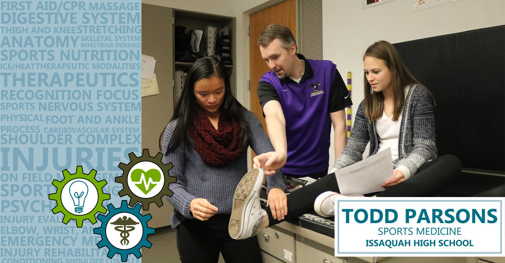 Meet Issaquah High's Todd Parsons, who runs the Sports Medicine program. The program features three different levels of Sports Medicine, each one building on the previous, as well as two different levels of internships in which class participants become student athletic trainers working exclusively with a high school sports team.  In Sports Medicine 1 students study injury recognition and prevention, sport conditioning, nutrition, sports psychology, emergency care, first aid, and more to gain an understanding of the basic health concepts familiar to all medical careers. Students who continue onto levels 2 and 3 learn more about the specific structure and functions of the human body, including foot and ankle, thigh and knee, hip and spine, shoulder, elbow, wrist, and hand. Wrapping, taping, and rehabilitation techniques are also taught and practiced to be applied during required time in the athletic training room and/or at sporting events. Students are also able to complete their hands-on internship experience at sports and physical therapy clinics, fitness centers, hospitals, nursing homes, and other health care related institutions.  In April of each school year a team of students from Parsons' program compete in the state tournament, hosted by the Washington Career & Technical Sports Medicine Association (WCTSMA). Since the 2012-13 school year the Issaquah High team has placed first, securing the state championship. The team also competes in the National High School Sports Medicine Competition Championships, which happen in May, presented by the American Academic Competition Institute (AACI). The 2016-17 school year marked the fifth Division ACCI National Championship title for Issaquah High, and the third Grand AACI National Championship.  For more information on WCTSMA, please visit their website here:  http://www.wctsma.com/