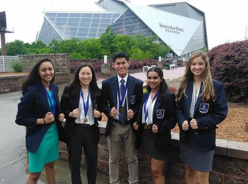 The DECA Finalists: Muskaan Agarwal, Grace Chen, Dawson Oen, Ananya Sahoo and Olivia Morgan