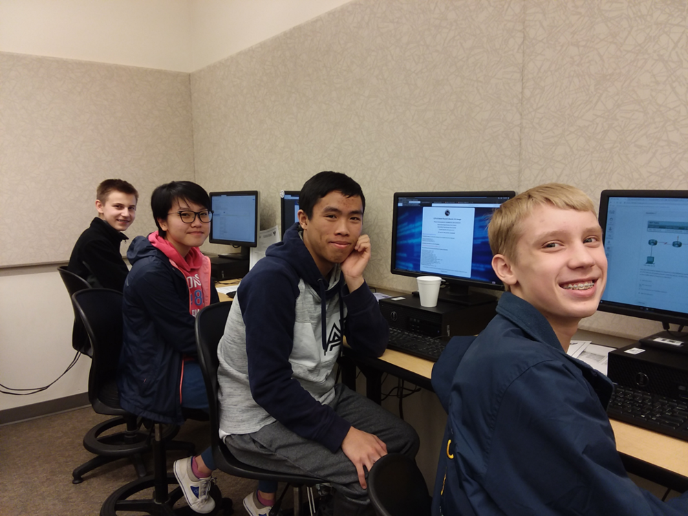 Patriot Company's Three CyberPatriot teams competed in the CyberPatriot State Finals. If they score in the top 25% of their respective divisions they will qualify for the National Semifinals. Patriot Company CyberPatriot Team Alpha - From left to right: Grant Brown (10), Khanh Dao (10), Alex Pham (12), and Carson Tucker (10) work to secure their respective networks.