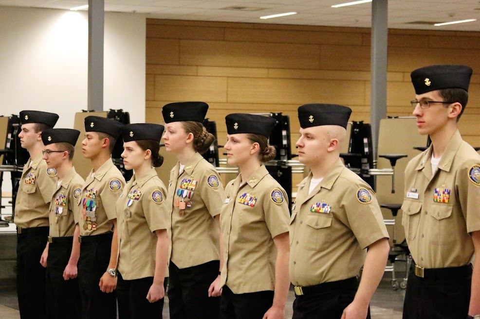 Six Cadets (from right to left) Evan Rosenfelt (11), Jacob Hill (11), Katelin Ovsak (10), Olivia Van Ry (11), Faith Ellis (10), and Christopher Lew (11), were advanced to the rank of Cadet Chief Petty Officer, the highest enlisted rank in the NJROTC program. Cadets must advance through the ranks, pass the Cadet Chief Petty Officer Exam, and pass an oral board that is conducted by Chief Spears and Captain Deehr. Cadet Chief Petty Officers Bruce Vagt (far left, 11) and Kerrek Matson (second from left, 12) were advanced to Cadet Chief Petty Officer earlier in the year.