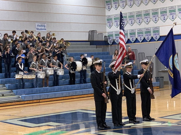 NJROTC provided the Colors for the Play Unified game between Liberty and Issaquah high schools.