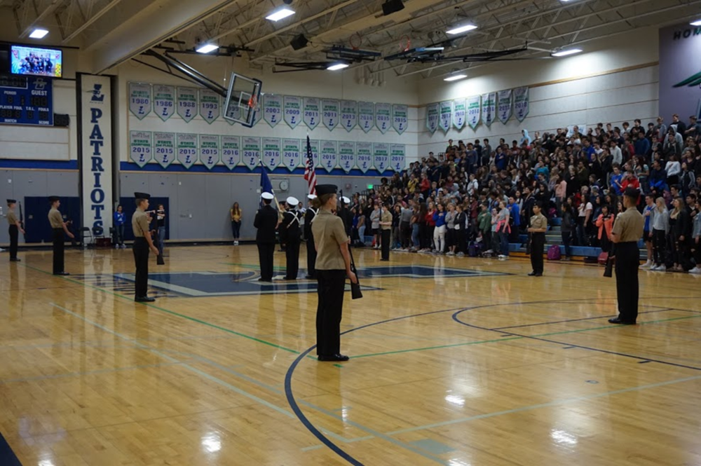 NJROTC supported the Spring Fling Assembly by presenting The Colors and the Armed Drill Team performed their exhibition armed drill routine