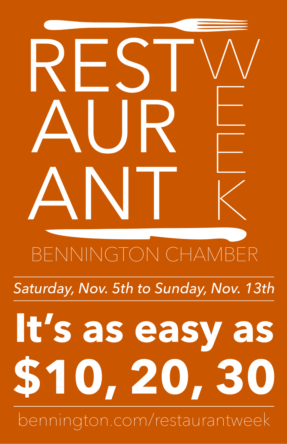 "Dining in Bennington Bennington chamber set to launch second restaurant week of the year with a fall ""it's easy as $10, 20, 30"" theme. Read more"
