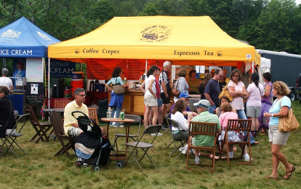 Visitors to the Southern Vermont Art and Craft Festival enjoy freshly made sweet and savory crepes along with espresso beverages at Loopy's Crepes