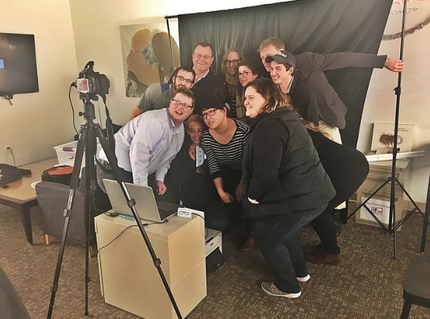 Participants in Bennington's inaugural Ice House Entrepreneurial Program pose for a picture in the mobile photo booth of Joseph Kuhlman, one of the program's participants.