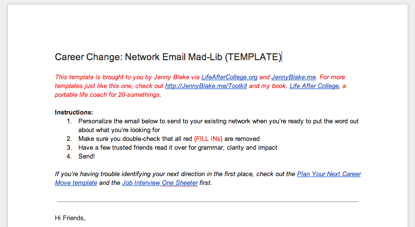 in the midst of a major career change modify this email template