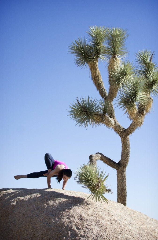 Yoga on the Rocks! Jenny at Joshua Tree (Grasshopper Pose)