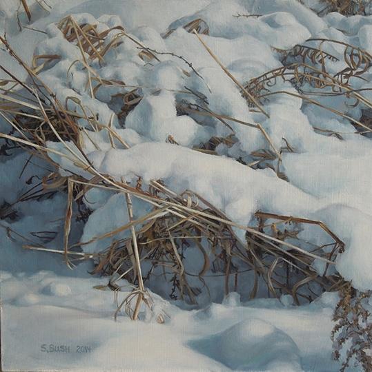 Winter (Hooded Brush), oil on canvas, 14.5 x 14.5, $1,780 framed