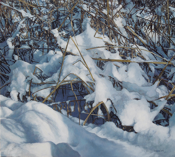Winter (Peeking Brush), oil on canvas, 38 x 42, $6,800