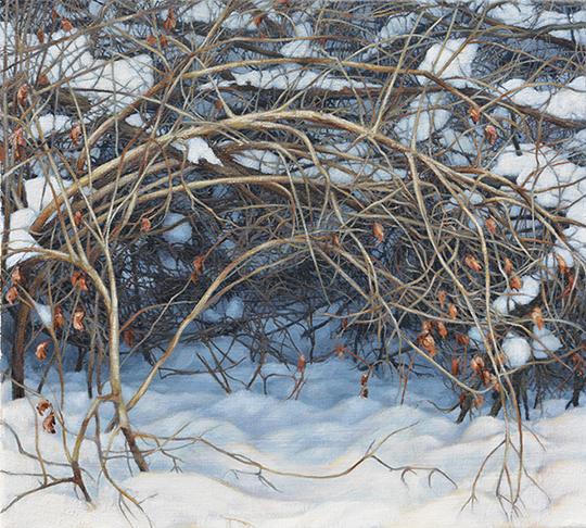 Winter (Den), oil on canvas, 18 x 20, $1,900