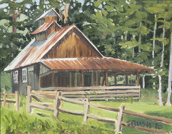 Sugar Shack on Bragg Hill Rd, oil on canvas board, 8 x 10, $400 framed