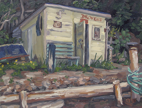 Drovers Shed I, oil on panel, 8 x 10, $400