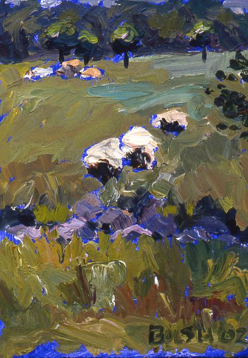 Sheep's Path, oil on panel, 7 x 5, SOLD