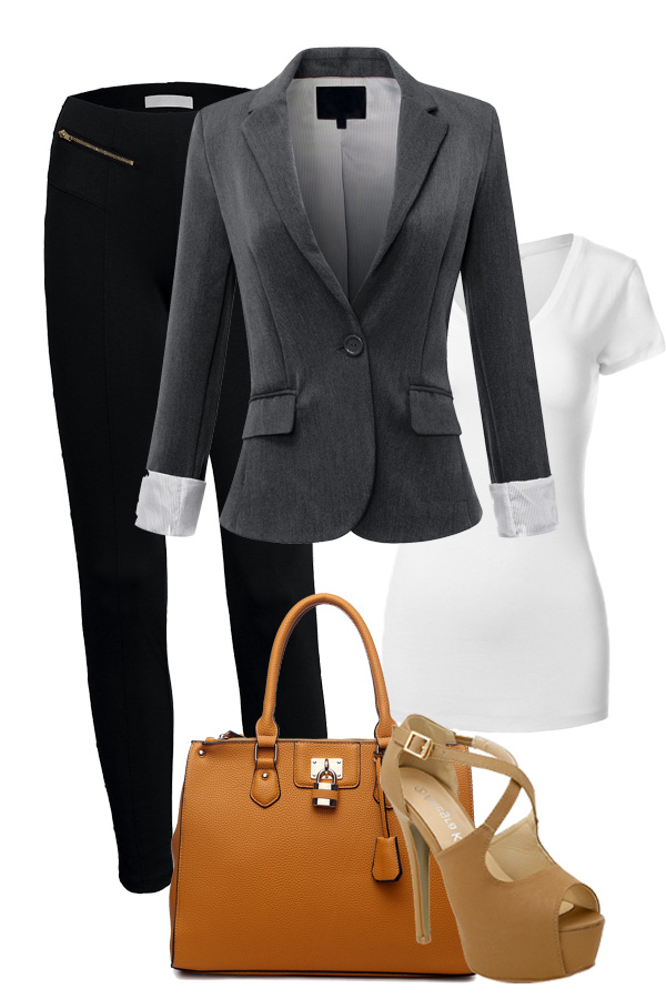 6564883a178 Slim Zipper Dress Pants · White T · Blazer · Camel Tote · Nude Heels