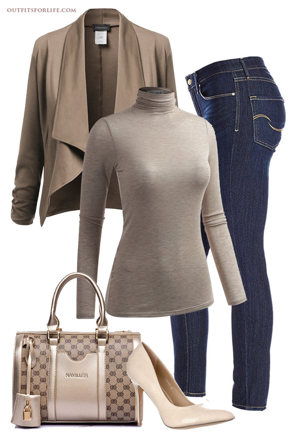 ca5f065e9c7 Dark Skinny Jeans · Taupe Turtleneck · Taupe Open Front Cardigan · Nude  Pumps