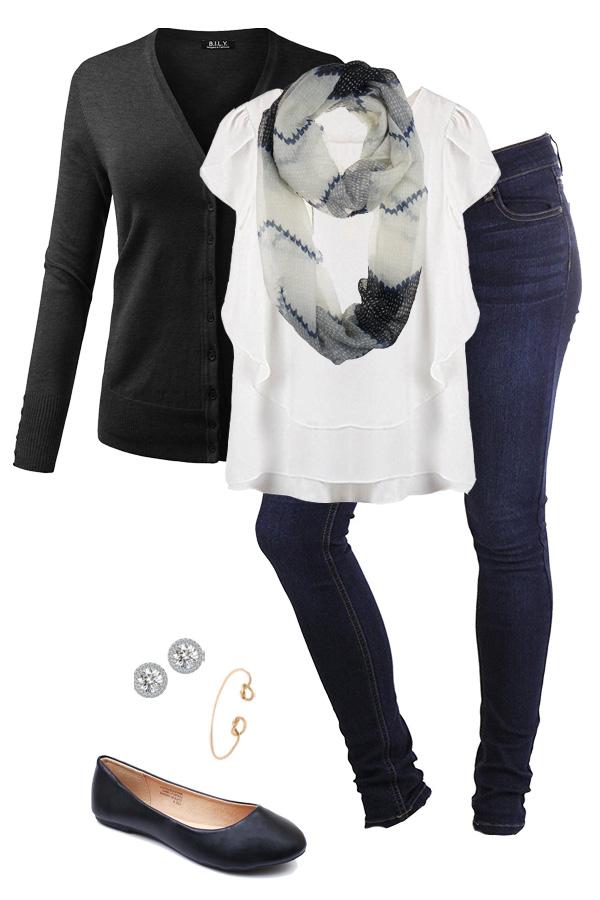6dd25c1265 Dark Skinny Jeans · White Flowy Blouse · Dark Grey Cardigan · Chiffon  Infinity Scarf