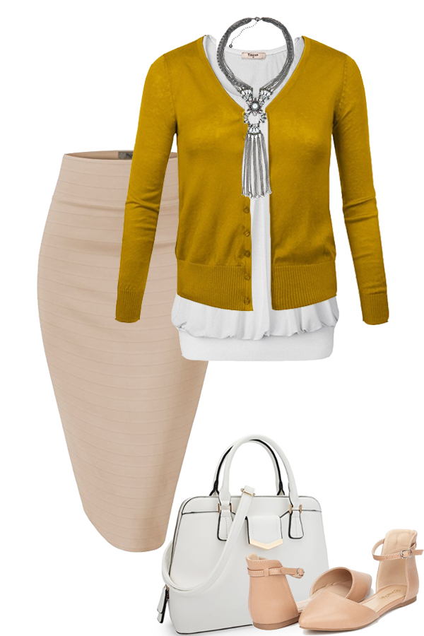 ba623945d Nude Pencil Skirt · White Blouse · Mustard Cardigan · White Purse · Nude  Flats · Silver Statement Necklace