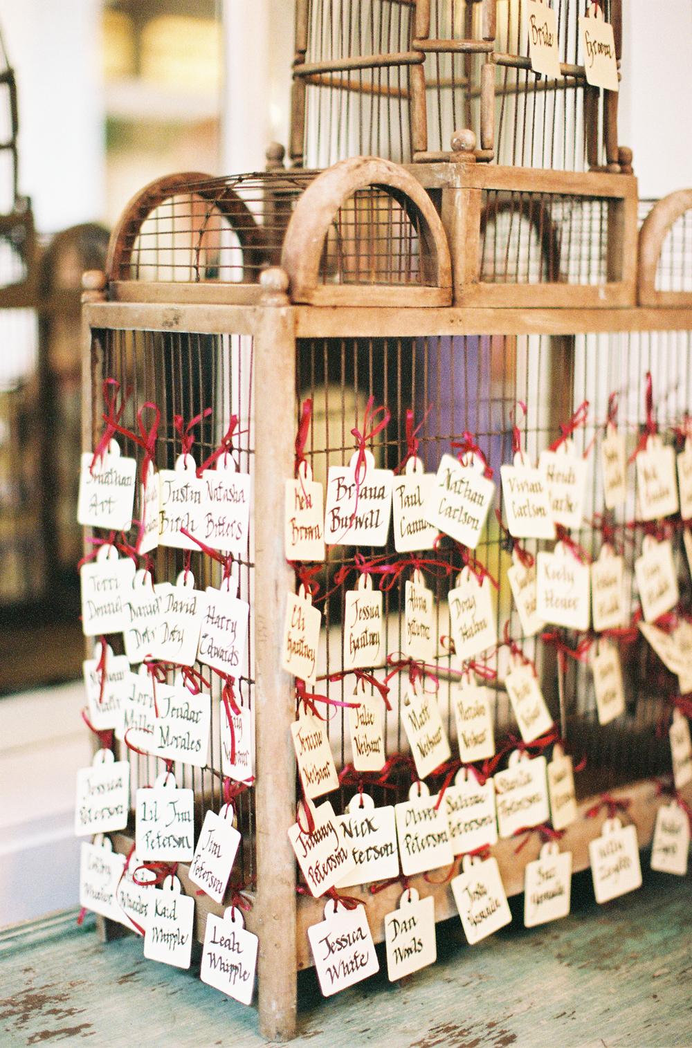 vintage birdcage wedding reception escort cards