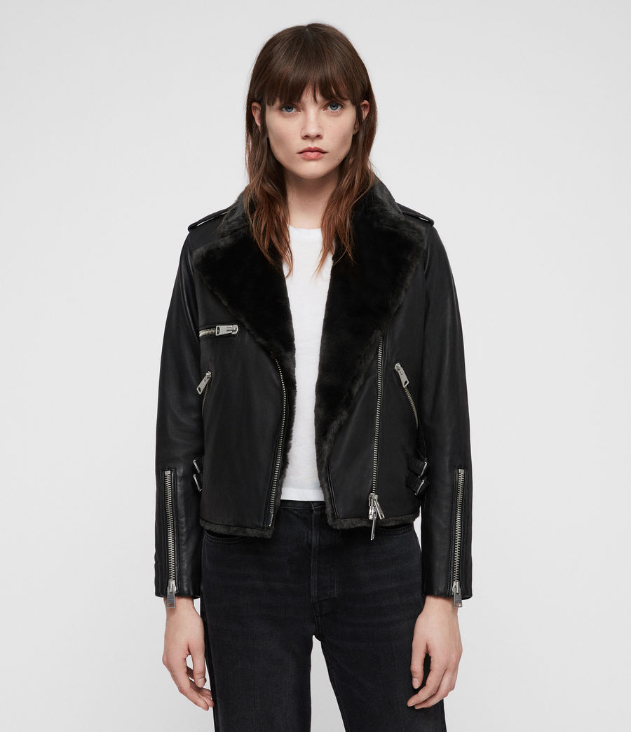 All Saints HIGGENS LUX BIKER JACKET, £380 - Leather veterans All Saints can seldom do wrong in this department, boasting a whole collection of leather jackets. The Higgens Lux may be the best of the bunch, with faux fur lining and a cool silhouette that screams uptown biker. Ringing in at £380, the Higgens won't break the bank, and you're sure to get quality for your buck with a brand like All Saints.