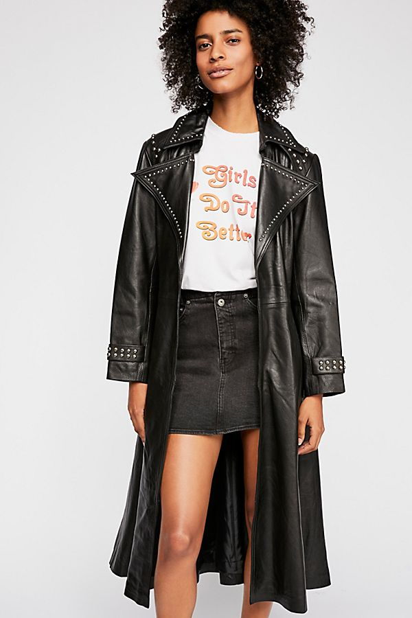 Free People Studded Leather Trench Coat, £868 - Fuse a hippie chick with Neo (the one from the matrix, not us!) and you'll get this crazy cool leather coat from Free People. Style it with a short denim skirt as they've done, or even with a maxi dress, as the length of the piece gives it endless possibilities!