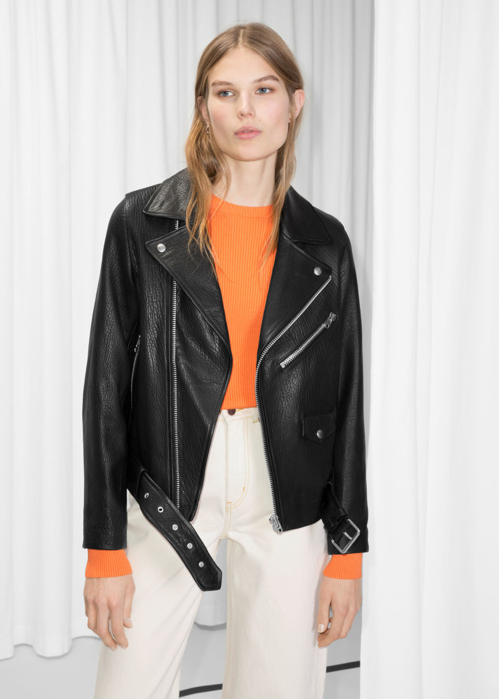 & Other Stories Leather Biker Jacket, £345 - We end with the classic Biker; a traditional silhouette crafted in lamb leather by one of our favourite labels, & Other Stories. The beauty of this grainy piece lies in its simplicity, as it can be worn over absolutely anything…or with nothing underneath.