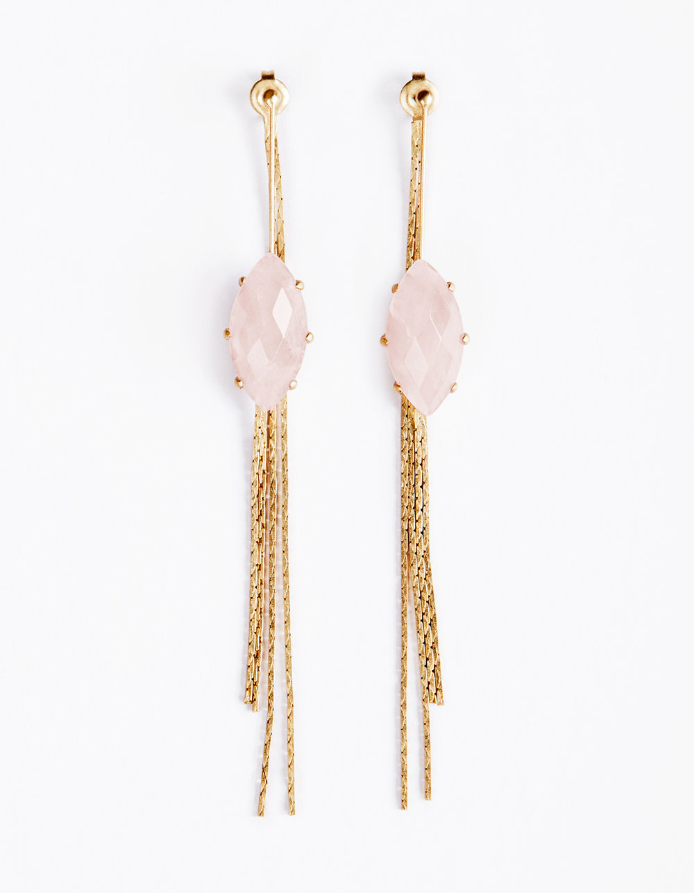 LEDA EARRINGS - The simplistic Leda earrings, like a modern artist's sketch, are composed by a play on juxtaposed lines and forms. While the featured hand-cut rose quartz gemstone aims to be the focus, the subtle detail of delicate chain draping from the back makes up for a dazzling element, to make these the perfect go-to pair for an every day and night statement. 18k antiqued gold plated, rose quartz measures 3.5 inches l x 10mm w. Natural gemstone's inclusions may differ from piece to piece to allow for a signature one-of-a-kind aesthetic. Made with love.