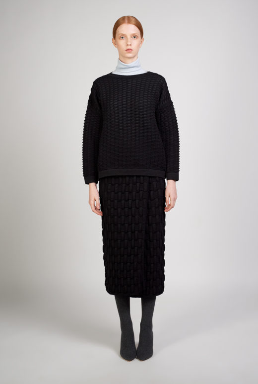 SWEATER EIKE - This knitted sweater is characterized by a unique texture. There are multiple options in combining it with trousers, skirts or dresses. Light-weight textured knit. Regular fit. Hand wash. 100% wool.