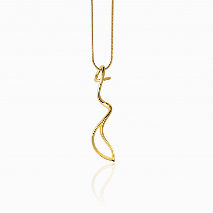 SOLO NECKLACE - 14k gold plated. Highly polished. 2.15 inches long. The solo line is a timeless treasure. It gives elegance and sophistication to any outfit. Made from one single line, this organic shape will make you look stunning.