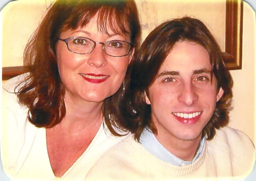 The author with his long locks and his mother, Christmas 2003, during the terrifying George W. Bush presidency.