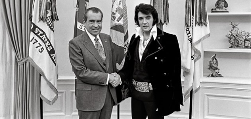The moment Elvis Presley used his celebrity to persuade President Nixon to make capes the official national fashion accessory. Elvis would die seven years later. Coincidence?