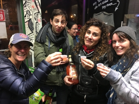 Holly, the author, Nicolette and Jessica at Far East Tacos with their community hooch.