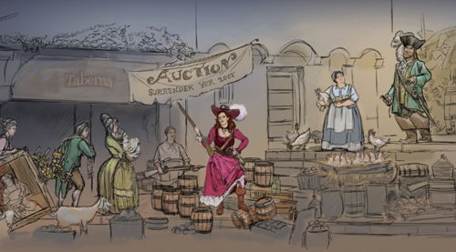 This rendering of the new wench attraction on the Pirates of the Caribbean ride at Disney theme parks. (Image lifted from CNN, courtesy of Disney.)